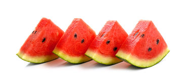 Wodni melonów plasterki na białym tle Obraz Stock