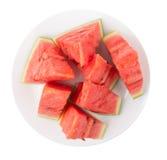 Wodni melonów segmenty w talerzu Obraz Royalty Free