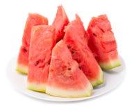 Wodni melonów segmenty w talerzu Obraz Stock