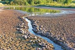 Wodni strumieni przepływy w stawu kurczyć się Obraz Stock