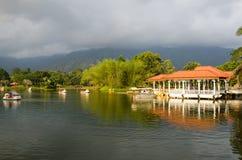 Wodniactwo na Taiping jeziorze, Taiping przy zmierzchem, Malezja Obrazy Stock
