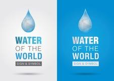 wodny świat Ikony signage symbolu wody kropla z światem Zdjęcie Stock