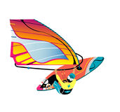 Wodny aktywny odtwarzanie Windsurfing wektorowy charakter z surfboard i jazdą na oceanie Zdjęcie Stock