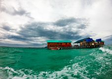 Wodny bungalow, semporna Sabah malysia obrazy stock