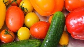 Wodny chełbotanie na dzwonkowych pieprzach w zwolnionym tempie; strzał na Fikcyjnego przewodu Soczystych świeżych warzywach kłama zdjęcie wideo