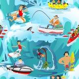 Wodny ekstremum bawi się bezszwowych wzory, projektów elementy dla wakacje aktywności tkaniny, kreskówka falowy surfing, morze Zdjęcie Royalty Free