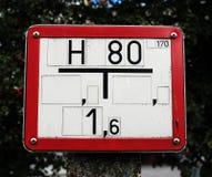 Wodny hydranta znak z czerwoną metal ramą Fotografia Stock