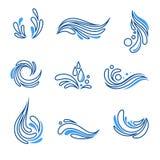 Wodny kropli i pluśnięcia eco ikony wektoru set Fotografia Stock
