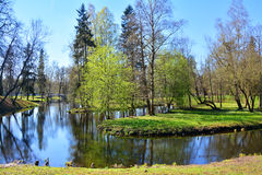 Wodny labitynt w Gatchina petersburg Rosji st Fotografia Stock