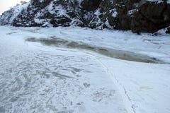 Wodny lustro zakrywa z lodem Zaporoska rzeka blisko Khortitsa wyspy w mroźnej zimie Miasto Zaporozhye Ukra Zdjęcie Royalty Free