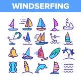 Wodny narciarstwo, Windsurfing Liniowe Wektorowe ikony Ustawia? royalty ilustracja