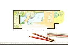 Wodny ogrodowy projekta plan Obrazy Stock