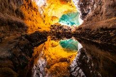 Wodny okulistycznego złudzenia odbicie w Cueva De Los Verdes, zadziwiająca lawowa tubka i atrakcja turystyczna na Lanzarote wyspi obrazy stock