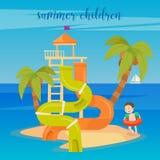 Wodny Parkowy wakacje Szczęśliwa chłopiec na morzu royalty ilustracja