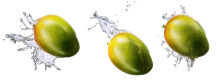 Wodny pluśnięcie z mango odizolowywającym Zdjęcia Royalty Free