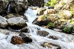 Wodny przepływ w kamieniach Obrazy Royalty Free