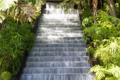 Wodny spływanie nad schodkami kamień Zdjęcia Royalty Free