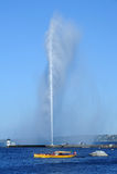 Wodny strumień jeziorny Leman przy Genewa Fotografia Stock
