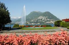 Wodny strumień na zatoce Lugano Obraz Stock