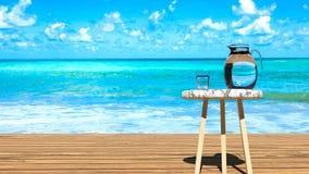 Wodny szkło i słój, błękitny ocean, piaskowata plaża, perfect tropikalny wakacje ilustracja wektor