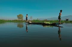 Wodny transport, Myanmar 02 Zdjęcia Royalty Free