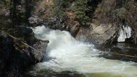 Wodny wirować przy dnem kaskada w skalistych górach zbiory
