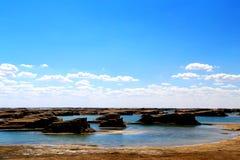 Wodny Yardang Czarci miasto światowy ` s yardang unikalny wodny landform Zdjęcie Stock
