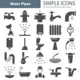 Wodnych drymb proste ikony ustawiać dla sieci i mobilnego projekta royalty ilustracja
