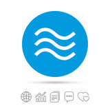 Wodnych fala szyldowa ikona Powódź symbol Obraz Royalty Free