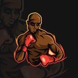 Woede die e-sportembleem in dozen doen royalty-vrije illustratie