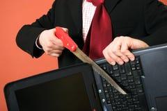 Woede tegen laptop Stock Fotografie