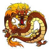 Woedende donker-gele Aziatische draak op wit Royalty-vrije Stock Afbeelding