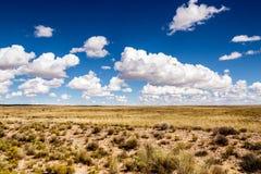 Woestenij, eenzaamheid in de woestijn met wolken Stock Foto's