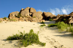 Woestijn en rots stock fotografie