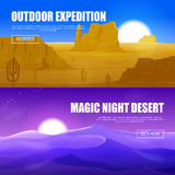 Woestijn Horizontale Banners Stock Foto