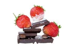 Woestijn met aardbei en chocolade Royalty-vrije Stock Afbeelding