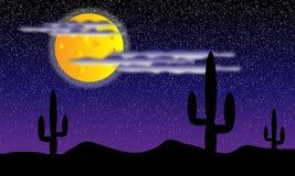 Woestijn met cactusinstallaties bij nacht stock illustratie