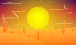 Woestijn met cactussen bij zonsondergang Royalty-vrije Stock Foto's
