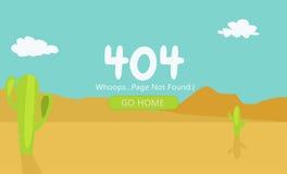 Woestijn met Gevonden niet cactussenpagina 404 Stock Afbeeldingen