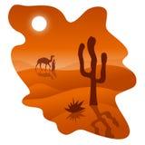 Woestijn met kameel en cactus stock illustratie