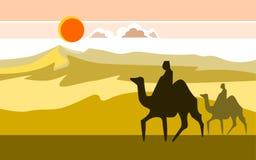 Woestijn met kamelen Stock Afbeeldingen