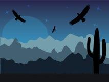 Woestijn met silhouet van adelaars en cactus op zonnige retro dag vector illustratie