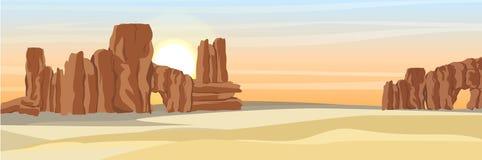 Woestijn met steenrotsen en geel zand stock illustratie
