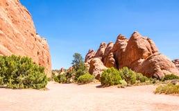 Woestijn Moab in Utah Steenwoestijn in Bogen Nationaal Park Reis door het Westen de V.S. Royalty-vrije Stock Foto's