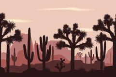 Woestijn naadloos patroon met joshuabomen en saguarocactussen Stock Afbeeldingen