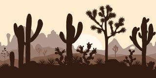 Woestijn naadloos patroon met joshuabomen, vijgencactus, en saguaro Stock Fotografie