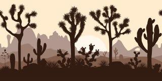Woestijn naadloos patroon met joshuabomen, vijgencactus, en saguaro Royalty-vrije Stock Foto