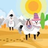 Woestijn naadloze elementen als achtergrond, beeldverhaalillustratie met a royalty-vrije illustratie