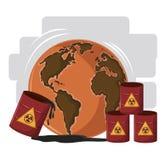 Woestijnbol met gevaarlijk afval vector illustratie