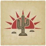 Woestijncactus bij zonsondergang oude achtergrond royalty-vrije illustratie